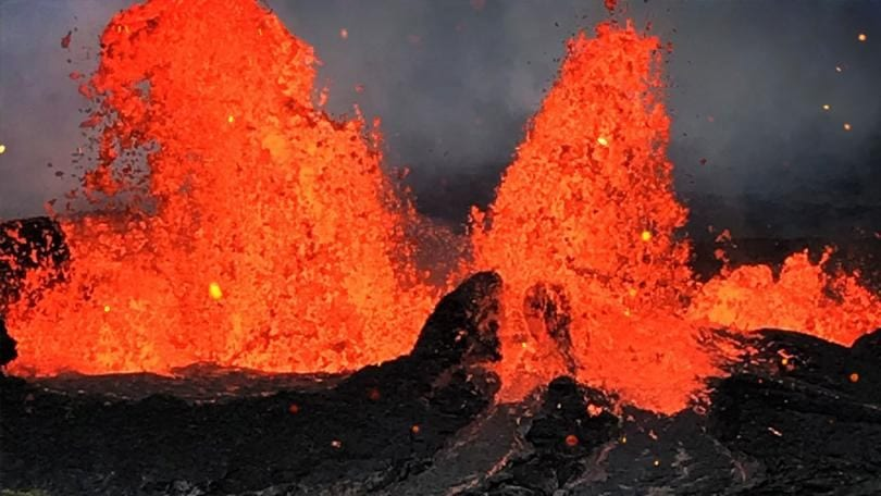 Lava Spewing From Hawaii Volcanoes